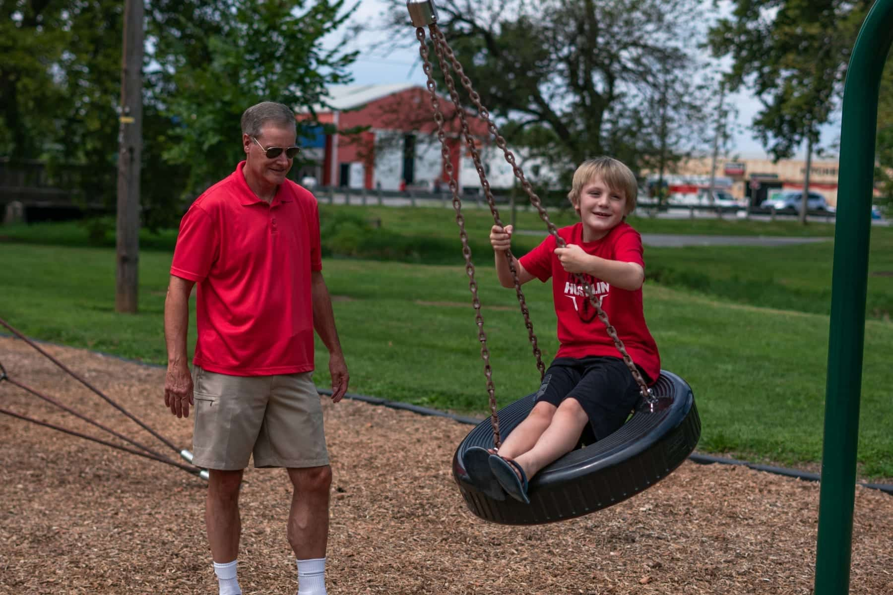 Jim and Kohen hung out recently at York's James E. (Jim) Gross Park, which was renamed from Lincoln Park in 2017 in honor of Jim's work in the community. (Photo by Caleb Robertson for Our York Media)