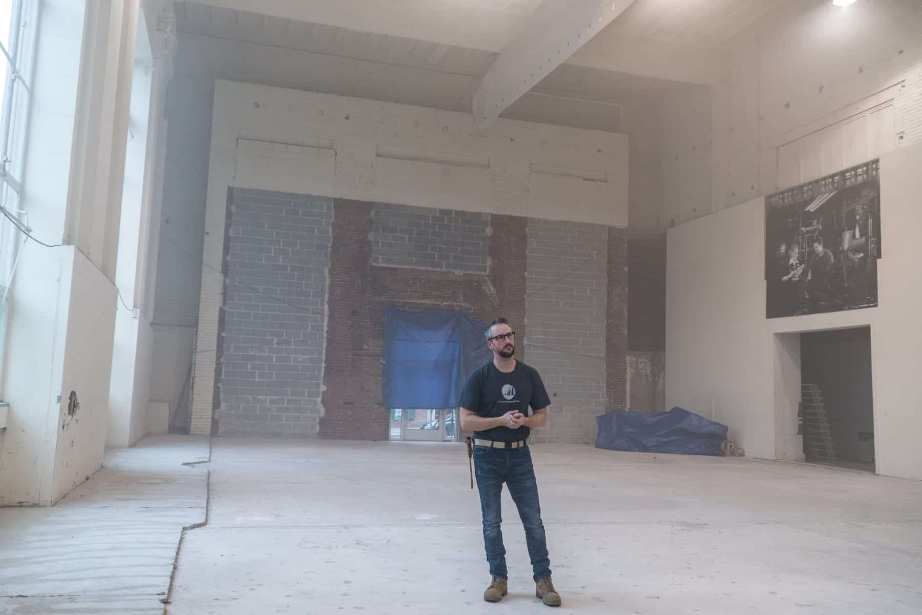 York Exponential CEO John McElligott stands inside the future home of The Fortress. (Photo by Caleb Robertson for Our York Media)